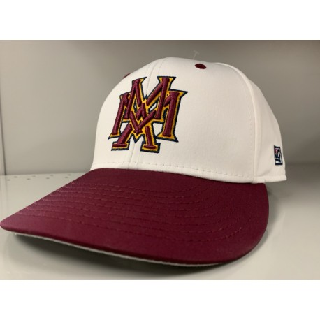 MMA Baseball Cap Fitted White and Maroon